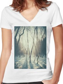 Peaceful Forrest Women's Fitted V-Neck T-Shirt