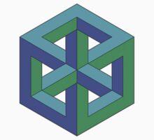 Penrose Cube - Blue Green One Piece - Short Sleeve