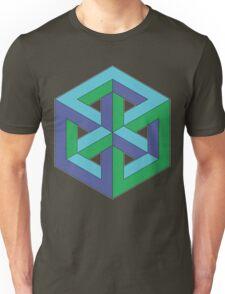 Penrose Cube - Blue Green Unisex T-Shirt