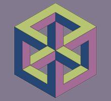 Penrose Cube - Green Purple Blue Kids Tee