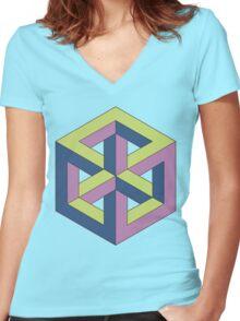 Penrose Cube - Green Purple Blue Women's Fitted V-Neck T-Shirt