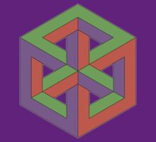 Penrose Cube - Green Purple Orange by VanHogTrio