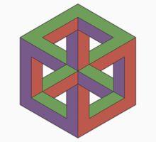 Penrose Cube - Green Purple Orange Baby Tee