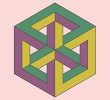 Penrose Cube - Green Purple Yellow Kids Tee