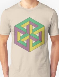 Penrose Cube - Green Purple Yellow T-Shirt