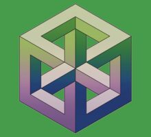 Penrose Cube - Green Purple Gradation Kids Clothes