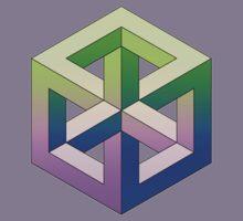 Penrose Cube - Green Purple Gradation Kids Tee