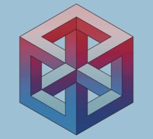 Penrose Cube - Red Blue Gradation Kids Tee