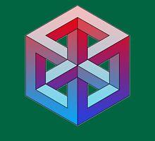 Penrose Cube - Red Blue Gradation Unisex T-Shirt