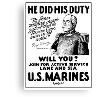 George Dewey US Marines Recruiting  Canvas Print