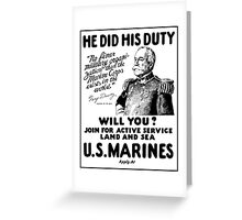 George Dewey US Marines Recruiting  Greeting Card