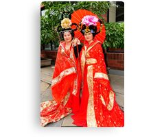 Chinese Girls In Colourful Costumes. Xi'an, China Canvas Print
