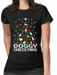 Doggy Christmas Tree Womens Fitted T-Shirt