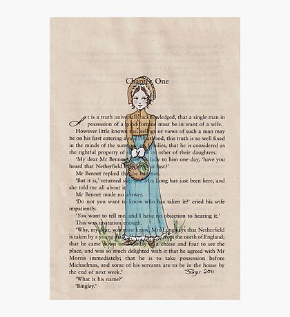 Pride and Prejudice chapter one. Elizabeth Bennet Photographic Print