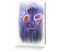 Purple Callas With Fringed Edge Border Greeting Card