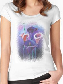 Purple Callas With Fringed Edge Border Women's Fitted Scoop T-Shirt