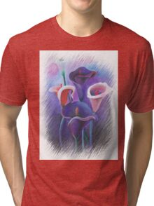 Purple Callas With Fringed Edge Border Tri-blend T-Shirt