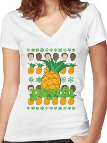 Psych TV Show Shawn Gus Pineapple Holiday Theme Women's Fitted V-Neck T-Shirt