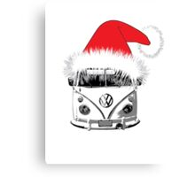 VW Camper Christmas hat Canvas Print