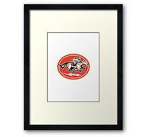 Horse Racing Side Retro Framed Print