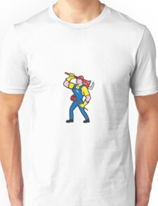 Plumber Carrying Wrench Plunger Cartoon Unisex T-Shirt