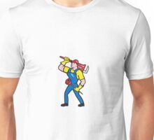 Plumber Carrying Wrench Plunger Cartoon Unisex T-Shirt