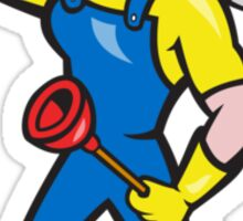 Plumber Carrying Wrench Plunger Cartoon Sticker