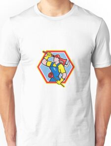 Plumber Holding Plunger Wrench Cartoon Unisex T-Shirt