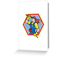 Plumber Holding Plunger Wrench Cartoon Greeting Card