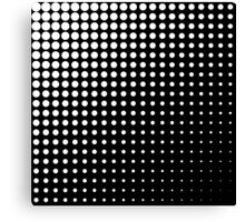 Modern techno shrinking polka dots black and white Canvas Print