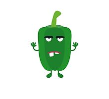 Green angry Capsicum by ilovecotton