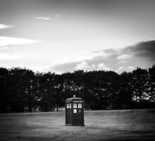 The TARDIS & sunset (in black and white) by Tiia Öhman
