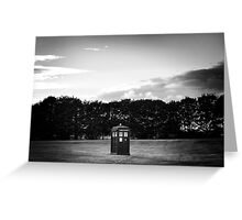 The TARDIS & sunset (in black and white) Greeting Card