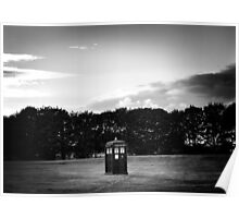 The TARDIS & sunset (in black and white) Poster