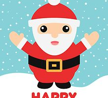 Cute Cartoon Santa Claus And Text Happy Holidays by destei