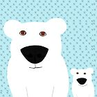 Polar Bear Mother and child by Verene Krydsby