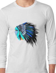 Blue head wearing a native American head piece. Long Sleeve T-Shirt