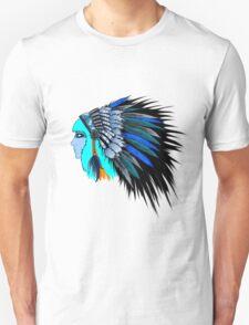 Blue head wearing a native American head piece. T-Shirt