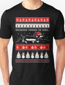 Dachshund Through The Snow Christmas Ugly Sweater Sweatshirt T-Shirt