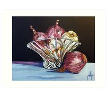 Red Onions and Garlic in a Crystal Bowl Art Print