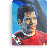 Shatner as Kirk in colored pencil  Metal Print