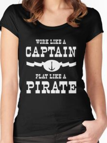 Work like a captain, play like a pirate Women's Fitted Scoop T-Shirt
