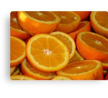 Closeup Of Sliced Oranges Canvas Print
