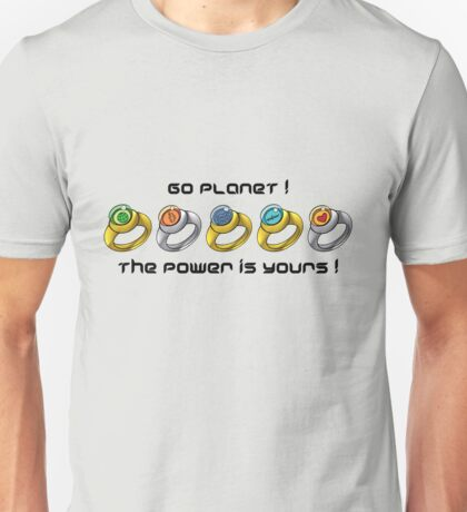 Planeteer Rings - Go Planet! - Black Font Unisex T-Shirt