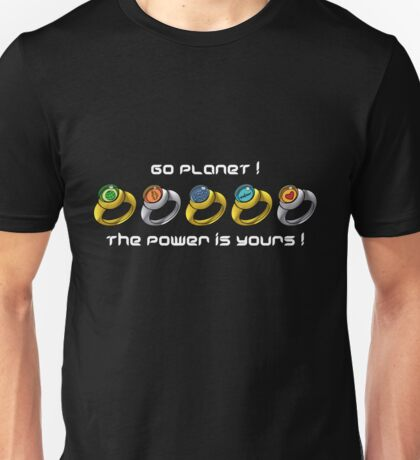 Planeteer Rings - Go Planet! - White Font Unisex T-Shirt