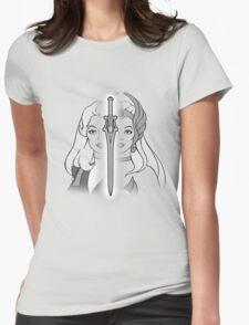 She-Ra Princess of Power - Adora/She-Ra/Sword - Black & White Womens Fitted T-Shirt