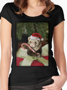 Christmas Ferret Women's Fitted Scoop T-Shirt