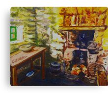 The Hearth, Magheragallen Byre Dwelling, Cultra, County Down. Oil/ acrylic on box canvas, 10 x 12 inch. Canvas Print