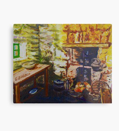 The Hearth, Magheragallen Byre Dwelling, Cultra, County Down. Oil/ acrylic on box canvas, 10 x 12 inch. Metal Print