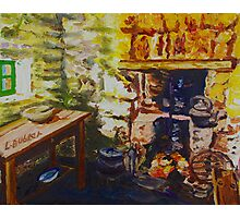 The Hearth, Magheragallen Byre Dwelling, Cultra, County Down. Oil/ acrylic on box canvas, 10 x 12 inch. Photographic Print